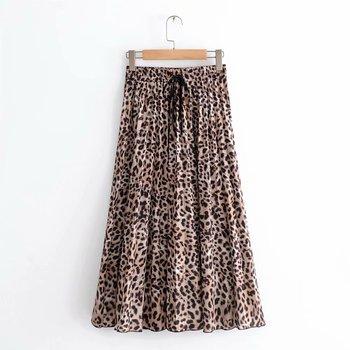 2018 nowych kobiet w stylu Vintage nadruk lamparta plisowana spódnica trzy czwarte faldas mujer panie w pasie skrzydła chic połowy łydki spódnice QUN119 tanie i dobre opinie AQRXA Lanon spandex Naturalne Leopard Skrzydeł WOMEN