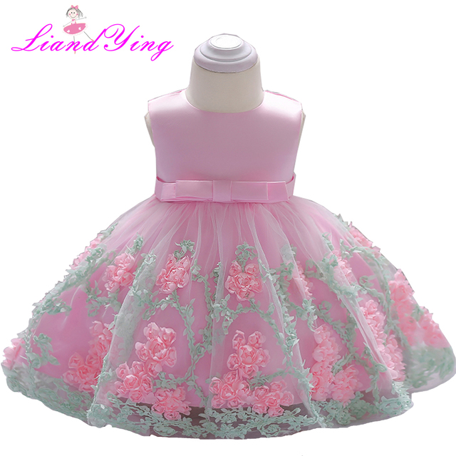 Vintage Baby Girl Dress Rosette Christening Gown 2018 Newborn Girls First Birthday Gift Big Bow