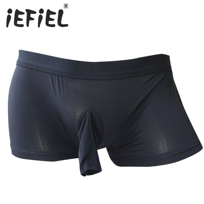 iEFiEL New Arrival Sexy Mens Boxer Lingerie Underwear Stretch Underwear with Open Penis Sheath Underpants Undershort(China)