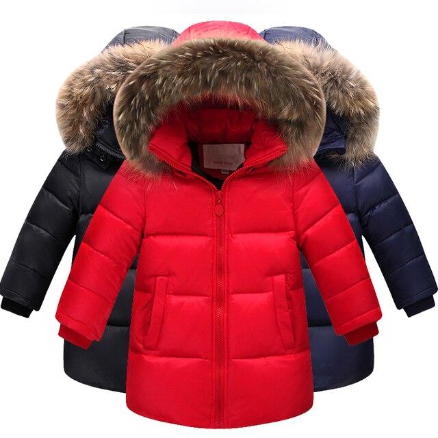 3afae1cbb Niños Rusia invierno cálido abajo Chaquetas niños engrosamiento abrigos  niñas Big Fur Collar con capucha abajo