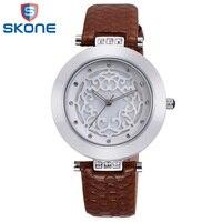 Skone роскошные часы женские платья часы часы удивительные кожаный наручные кварцевые аналоговые водонепроницаемый повседневная наручные ч...