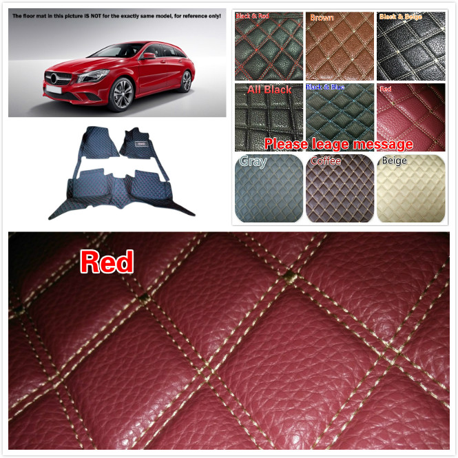 Car-styling 1 Set Customs Interior Leather Floor Mats & Carpets Waterproof Pads For Benz CLA-Class C117 2014 2015 2016 5 Seats interior leather custom waterproof car styling auto floor mats