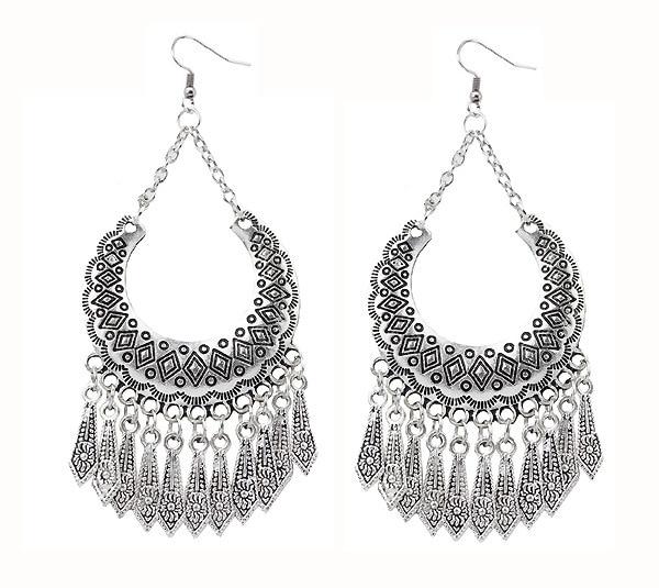3a4061b183450 US $1.96 15% OFF|2019 New Tibetan Silver Boho Turkish Jewelry Geometric  Dangle Earrings Vintage Bohemian Tassel Earrings for Women Jewelry 3E113-in  ...