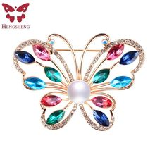 HENGSHENG Brand Colorful Butterfly Women Brooch,Real Natural Pearl With AAA Zircon,Silver/Rose Gold,Fashion Jewelry Gift Box(China)
