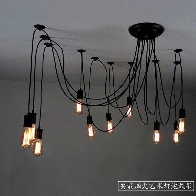 Mordern nordic rétro edison ampoule lustre vintage loft antique réglable bricolage e27 art araignée plafond lampe