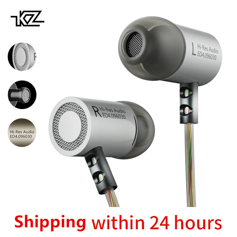 KZ ED4 Metal Stereo Earphone Noise Isolating In-ear Music Earbuds with Microphone for Mobile Phone