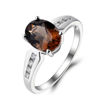 Leige Jewelry Oval Cut Brown Gemstone Ring Natural Smoky Quartz Ring Cocktail Party Ring 925 Sterling Silver Ring Gift for Women