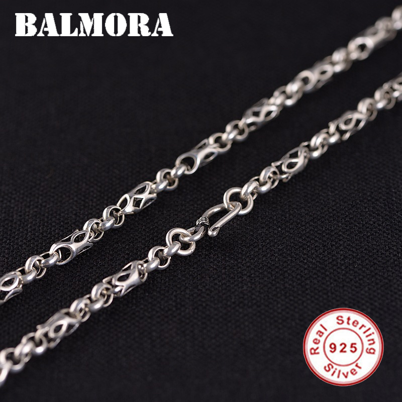 BALMORA, 100%, настоящее 925 пробы, серебро, модное, с крючком, буквой 0, цепочки, ожерелье S для мужчин, мужское, антикварное ожерелье, аксессуары CK0004
