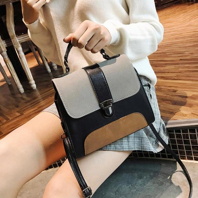 Casual Women PU Leather Sling Handbag Girls Crossbody Bag Patchwork Color Messenger Shoulder Bag Female Handbag 3