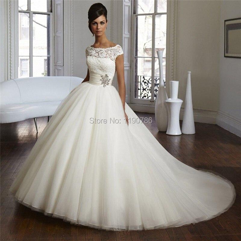 Elegantes Weiß Elfenbein Tüll Ballkleid Brautkleider Spitze