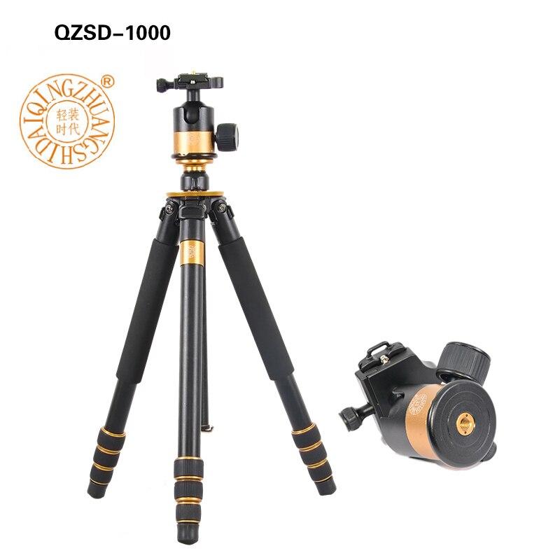 QZSD Q1000 professionnel trépied photographique pour appareil photo reflex trépied rotule monopode hauteur 1630 MM Action caméra accessoires