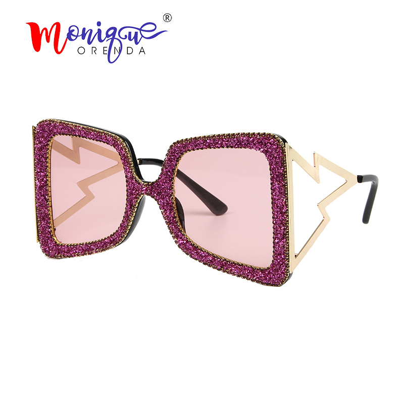 New Oversized Classy Retro Cat Eye Style SUN GLASSES Pink Frame Huge Rhinestones