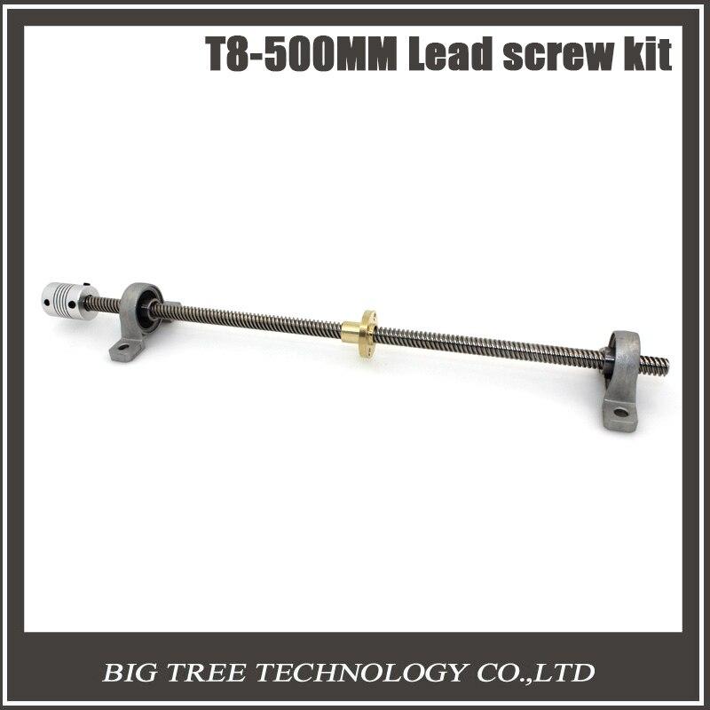 Envío libre T8 tornillo de 500mm 8mm + latón tuerca de cobre + KP08 rodamiento S
