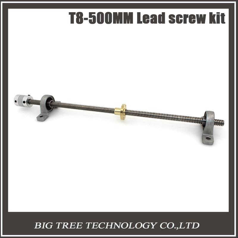 Free shipping T8 Lead screw 500 mm 8mm brass copper nut KP08 bearing Bracket Flexible Coupling