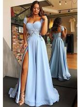 Popular Light Blue Satin Dress Sleeveless Buy Cheap Light