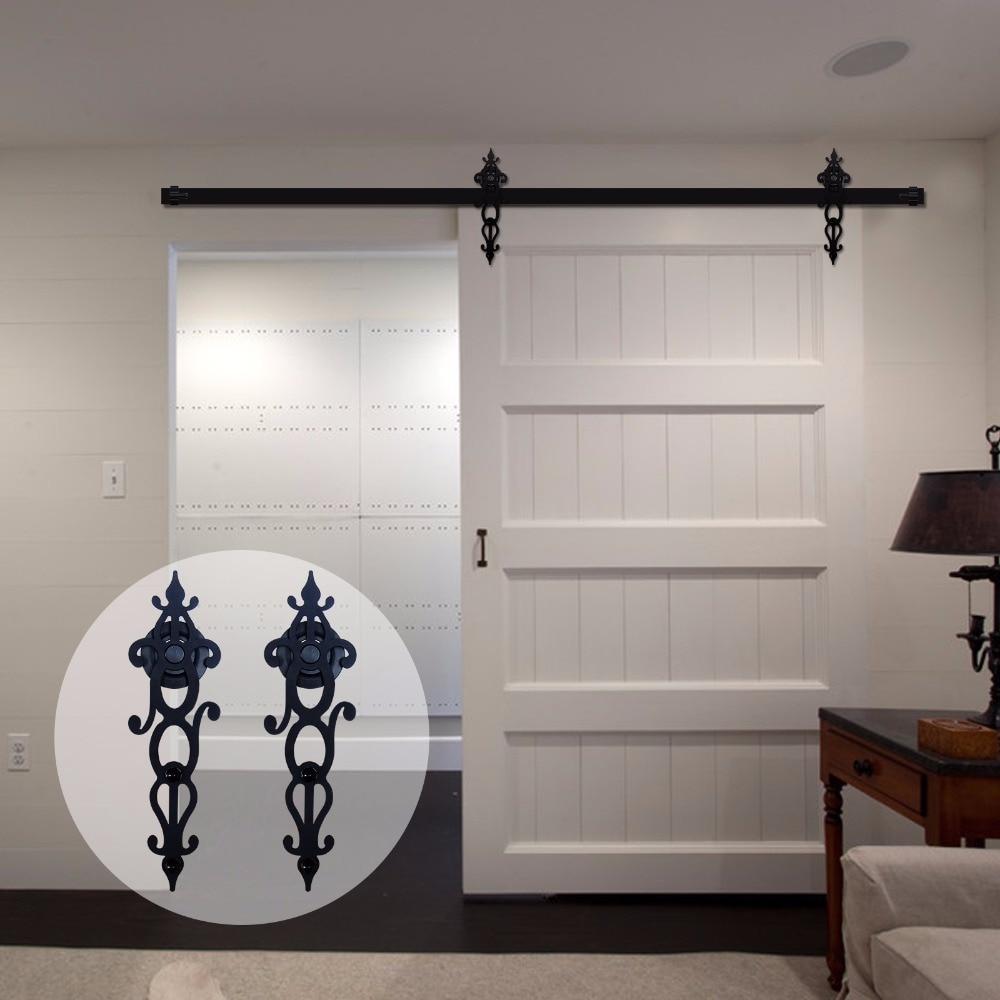 LWZH 18FT/20FT Country Style Sliding Barn Door Hardware Set Rustic Black SteelCloset Door Cabinet Door Track Kit for Single Door