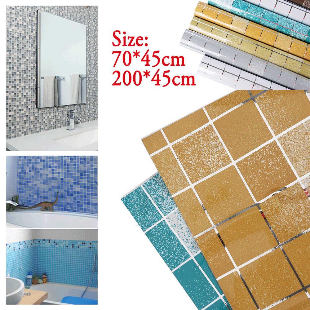 Aluminum Foil Self adhesive Wallpaper Bathroom Waterproof Scrub Mosaic Wall Tile Stickers Kitchen Oil-proof Wall Paper
