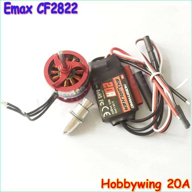 wholesale 1pcs Emax CF2822 1200KV Outrunner Brushless Motor + Hobbywing 20A Brushless ESC +3.0mm propeller adapter Dropship