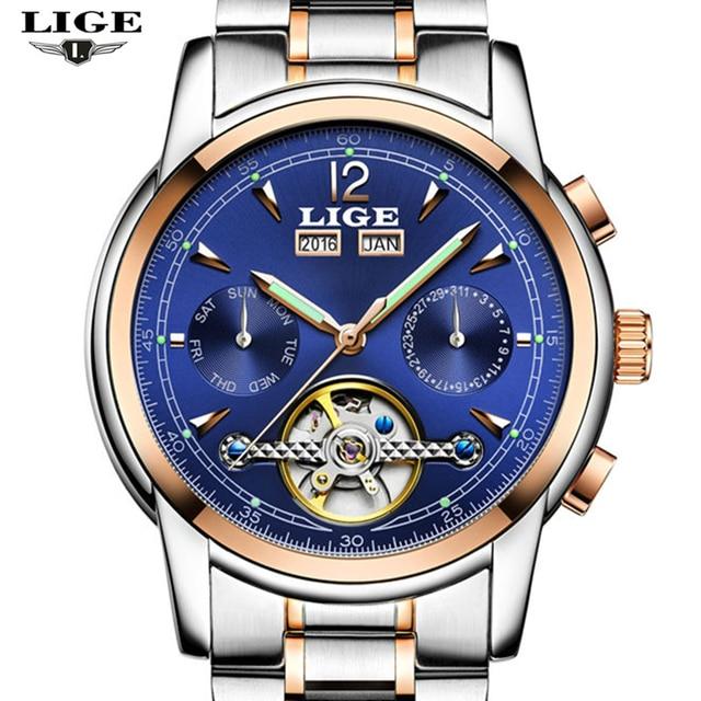 Relojes Hombre LIGE Top Luxury Brands Men's Automatic Mechanical Waterproof Watch Men's Casual Fashion Business Men's Watch