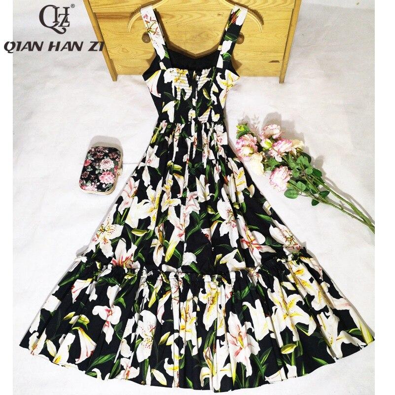Qian Han Zi nouveau Designer mode femme sexy robe Spaghetti sangle Floral imprimé Slim Vintage haute qualité coton robe mi longue-in Robes from Mode Femme et Accessoires on AliExpress - 11.11_Double 11_Singles' Day 2
