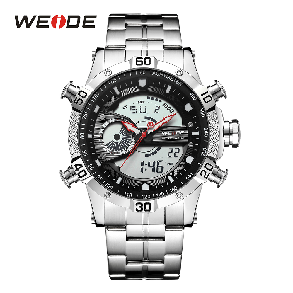 WEIDE Men Sport Watch Waterproof Top Brand Luxury Watch Men Date Display Quartz Wrist Watches Relogio Masculino Wristwatch Clock brand weide fashion casual men watch black silicone strap 3atm waterproof dual display wristwatch relogio masculino sale items