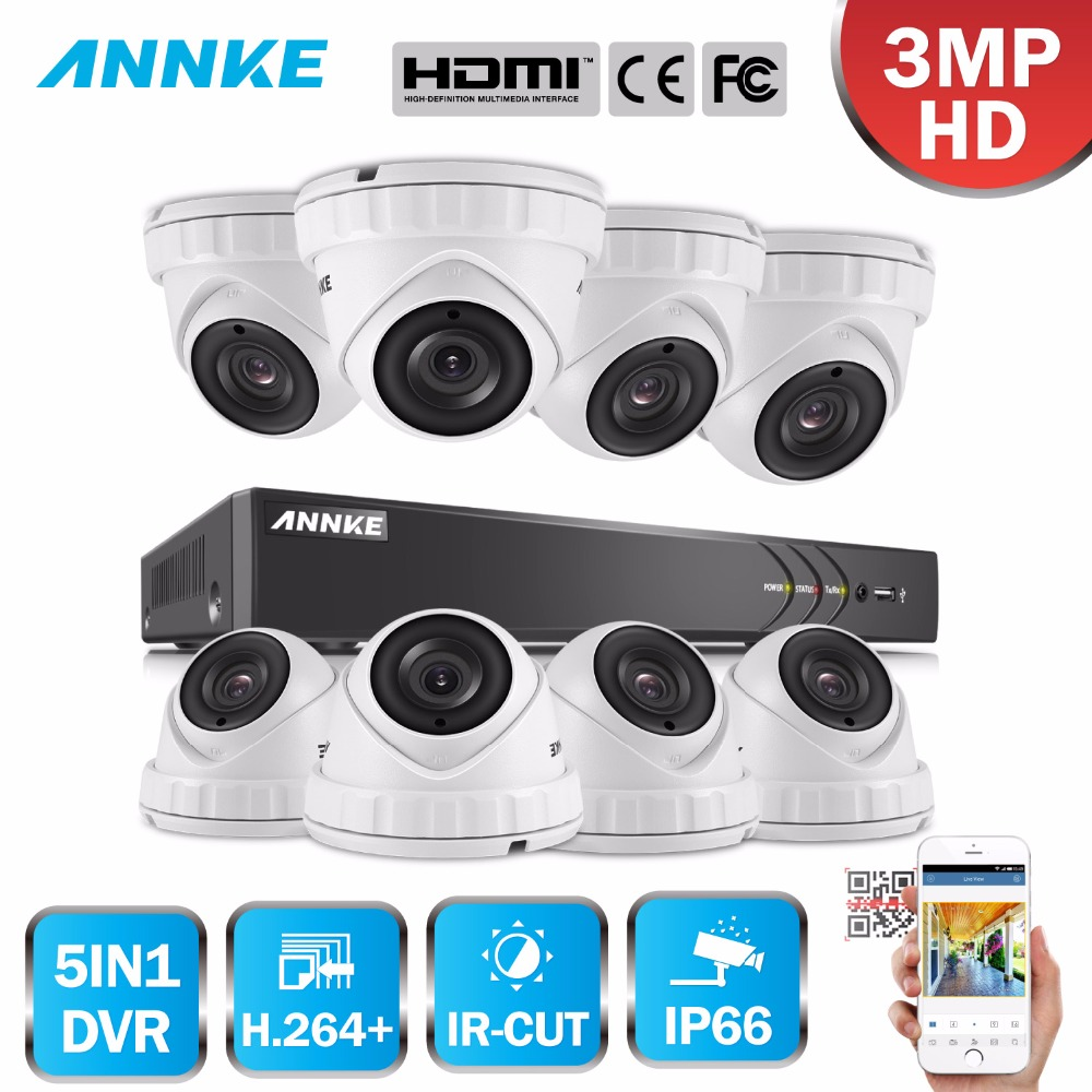 ANNKE 8CH 3MP CCTV System HD TVI DVR 8PCS 2048*1536 TVI Security Dome Camera Outdoor CCTV Camera Home Video Surveillance Kit
