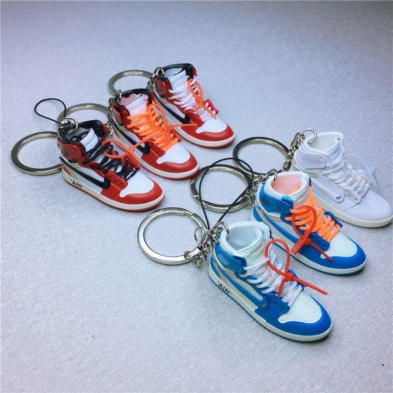 27632adfd54a 3D Air Jordan AJ1 OW Sneaker Keychains Mobile Phone Strap Lanyard for iPhone  keys Bag AJ Basketball