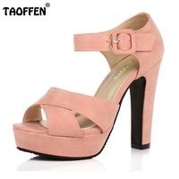 Peep Toe Ankle Strap Thick High Heel Sandals Platform Ladies Shoes Women Brand Dress Footwear Sandal