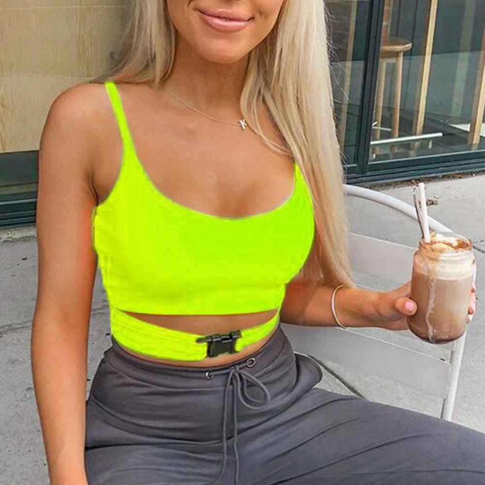 Fashion Women Summer Fluorescent color Front Buckle Deep O neck Hole Sleeveless Casual Solid   Tank   T-Shirt   Tops   Vest