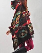 New Ladies Cape Coat Check Tartan Plaid Fringe Poncho Hoodie Hooded Bohemian Shawl Tassel Scarf Scarves