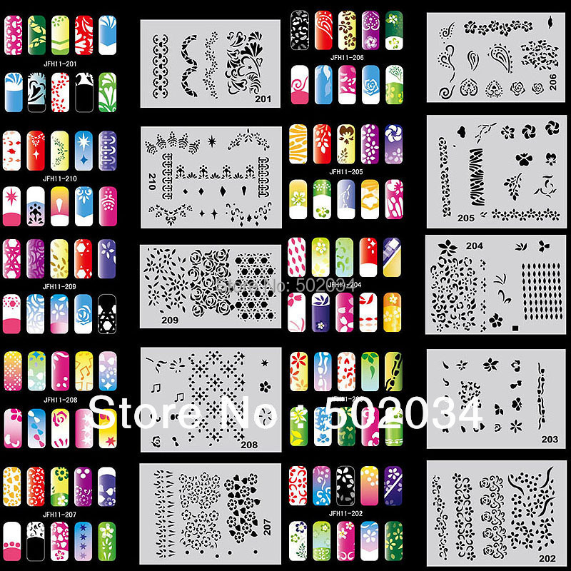 Ejiubas 12 Pcs 24 Diffe Designs Easy Nail Art Vinyls Stencil Sheets Stickers