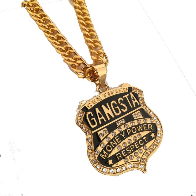 Mens Fashion Iced Out trendy Golden Gangster Pendant Hip Hop Money Power Charm Necklaces Link Chain Rapper Jewelry
