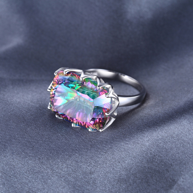 JewelryPalace Luxury 23ct Natural Rainbow Fire Mystic Topaz Ring Cocktail For Women 925 Sterling Silver Vintage Fashion Jewelry