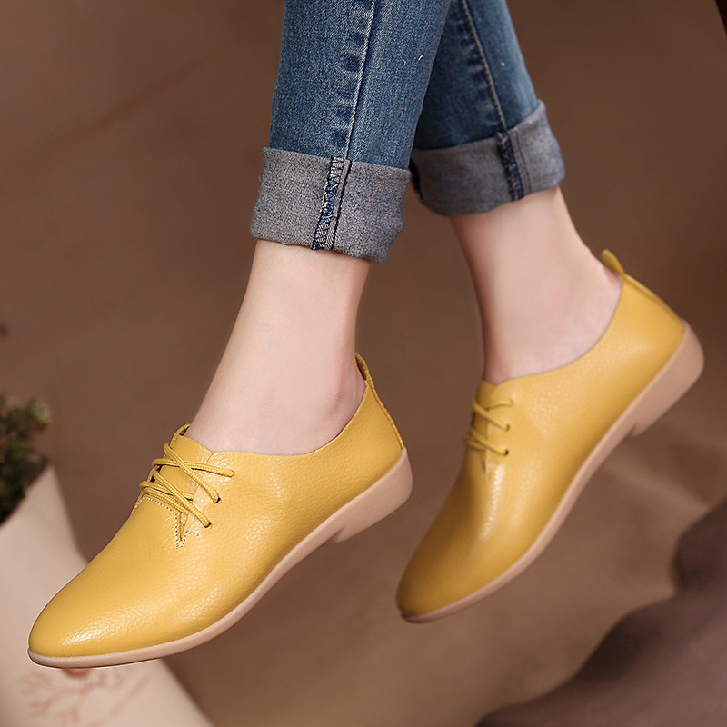 Women Flats 2020 Single Oxford Shoes Fall Women Shoes Flats Leather Mom Solid Color Casual Loafers Shoes Woman Tenis Feminino