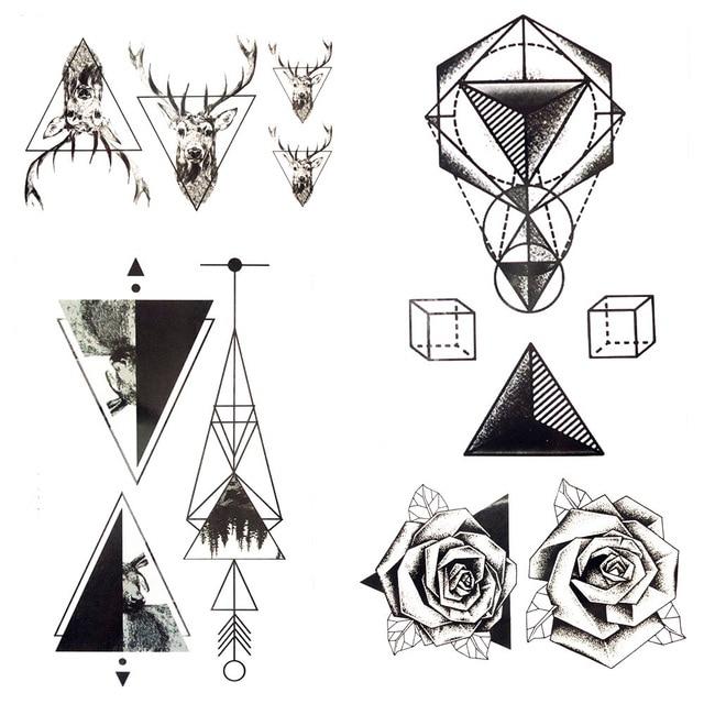 72f03e8d0 Small Geometry Triangle Temporary Tattoo Arrows Black Square Men Hands Fake Tattoo  Stickers Makeup Body Arm