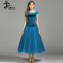 Women Peacock Blue/ Black Color Ballroom Dance Competition Dresses Velvet Sleeveless Modern Waltz Skirts Tango Standard Costumes