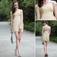 free shipping prom dresses 2016 cap sleeve handmade new fashion pleat lace yellow short mini Cocktail party Dresses