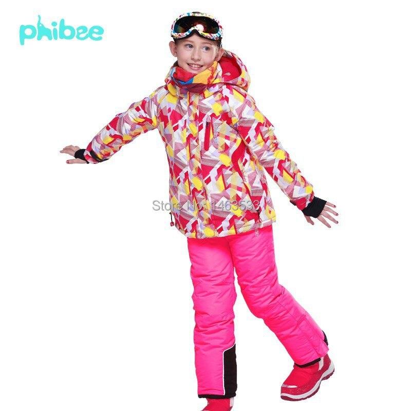 Phibee Girls Ski Suit Windproof Waterproof Kids Ski Jacket Ski Pants Snowboarding Jacket and Pants phibee girls ski jacket windproof waterproof kids ski jacket 8015 free shipping