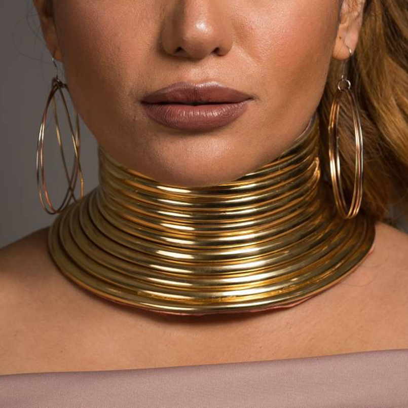 MANILAI Vintage Statement Choker Necklace Women Gold Color Leather Collar Maxi Necklace African Jewelry Adjustable Chokers Big