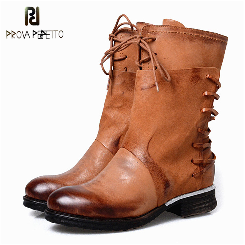 Prova Perfetto Retro Design Sheep Genuine Leather Zipper-side Woman Boots England Style Elegant Round Toe Mid High Boots new arrival superstar genuine leather chelsea boots women round toe solid thick heel runway model nude zipper mid calf boots l63