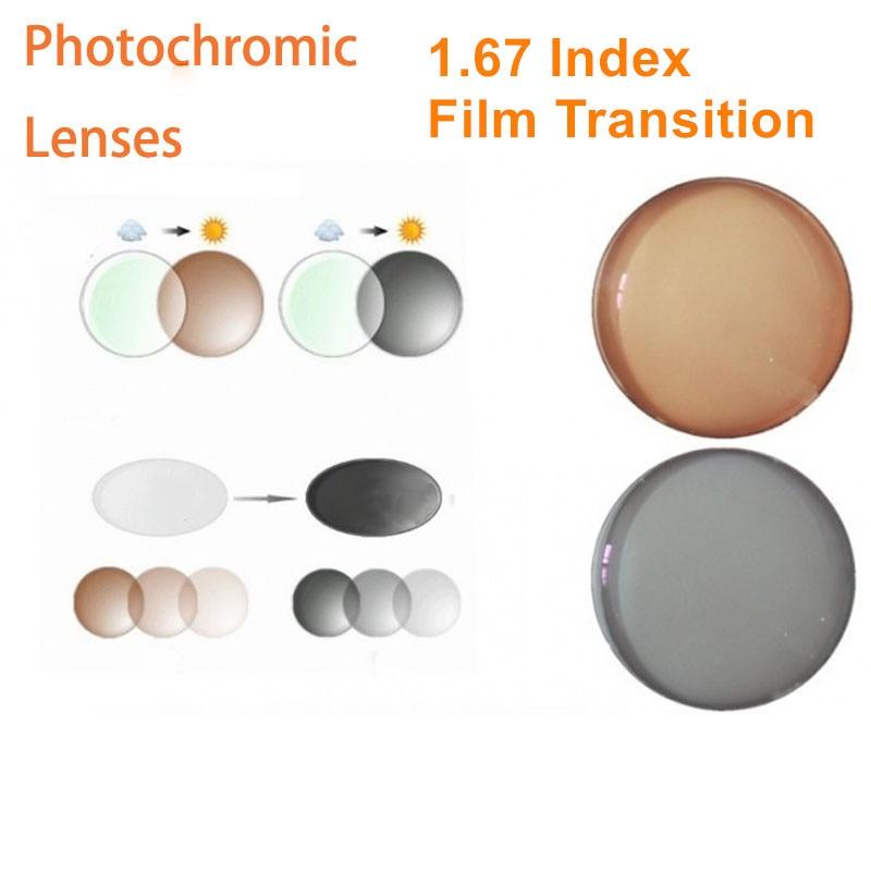 1 67 Index Prescription Photochromic Lenses Transition Grey Brown Lenses for Myopia Hyperopia Anti Glare Sunglasses