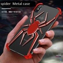 Araignée en métal lélément stents pour iPhone X XS Max Coque de protection pour iPhone 11 Pro Max Xr étui de téléphone antichoc de style de luxe