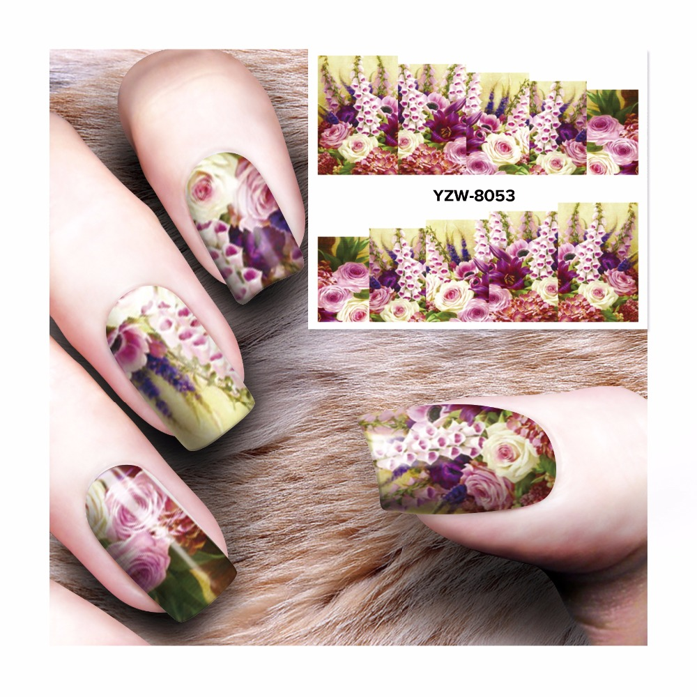 LCJ Flower Design Watermark Beauty Nail Art Tips Sticker Full Wraps Water Transfer Stickers Decals For Nails 8053 ds300 2016 new water transfer stickers for nails beauty harajuku blue totem decoration nail wraps sticker fingernails decals