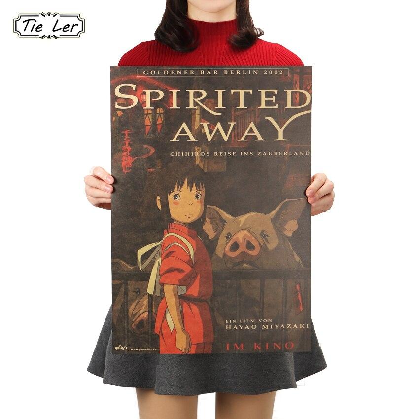 TIE LER Cartoon Anime Spirited Away Kraft Paper Poster Retro Bar Cafe Home Decorative Painting Wall Sticker 51.5X36cm