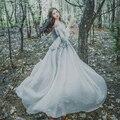 Envío gratis gray gasa manga farol burbuja largo vestido de princesa medieval Renacimiento Gótico victoriano/Marie Antonieta