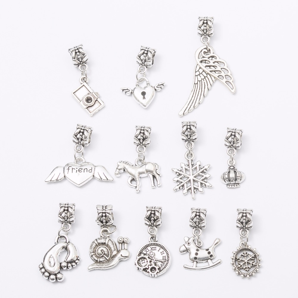 mix 24 pcs Tibetan silver Big Hole Loose Beads European Pendant fit Pandora charm bracelet DIY Metal jewelry making JS1528