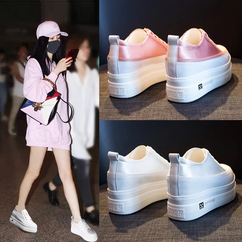 c34fdec0d5 Dumoo New Arrival Spring Shoes Women Height Increasing Shoes 7cm Casual  White Shoes Women Sneakers Satin