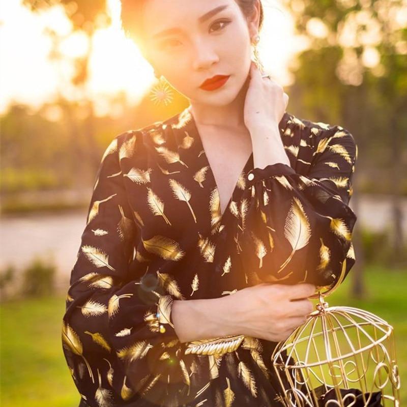 Longues Manches Robes Ventre Femmes Belt Plage Imprimer Sexy 2018 Taille Maxi À Cou Robe With Belt Plume D'été Haute V Sirène Dress backless Oqw7qx