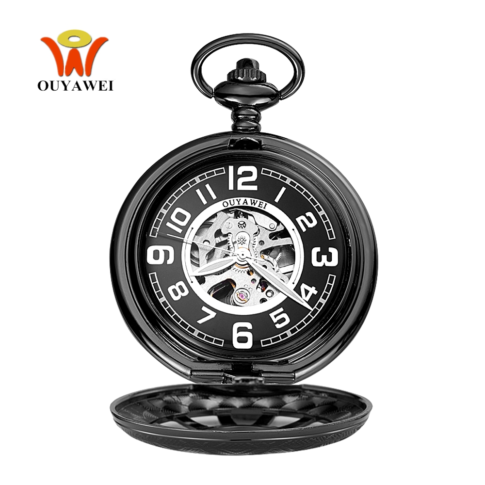Relogio Masculino Fashion Mechanical Hand Wind Pocket Watch Men Male Pendant Watch Black Full Steel Case Pocket Fob Watch Clock