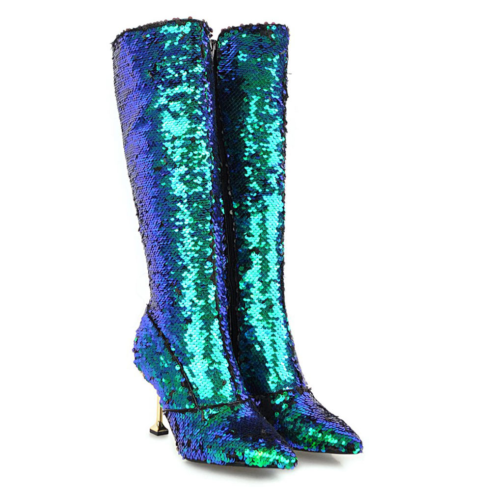 Lasyarrow Autumn Winter High Heels Sexy Knee High Boots Gold Silver Knight  Boots Glitter Bling Bling Women Nightclub Boots F304 d0c05cf6991e